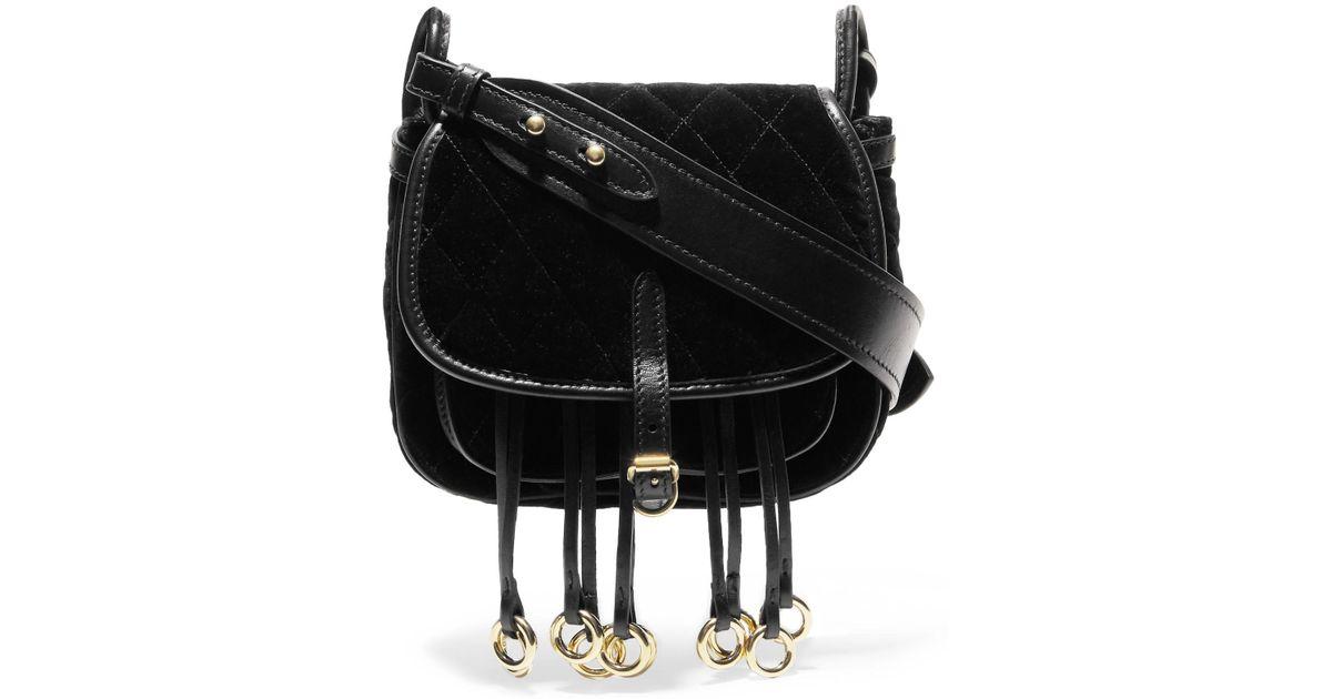 454931cf72d6 Lyst - Prada Messenger Leather-trimmed Quilted Velvet Shoulder Bag in Black