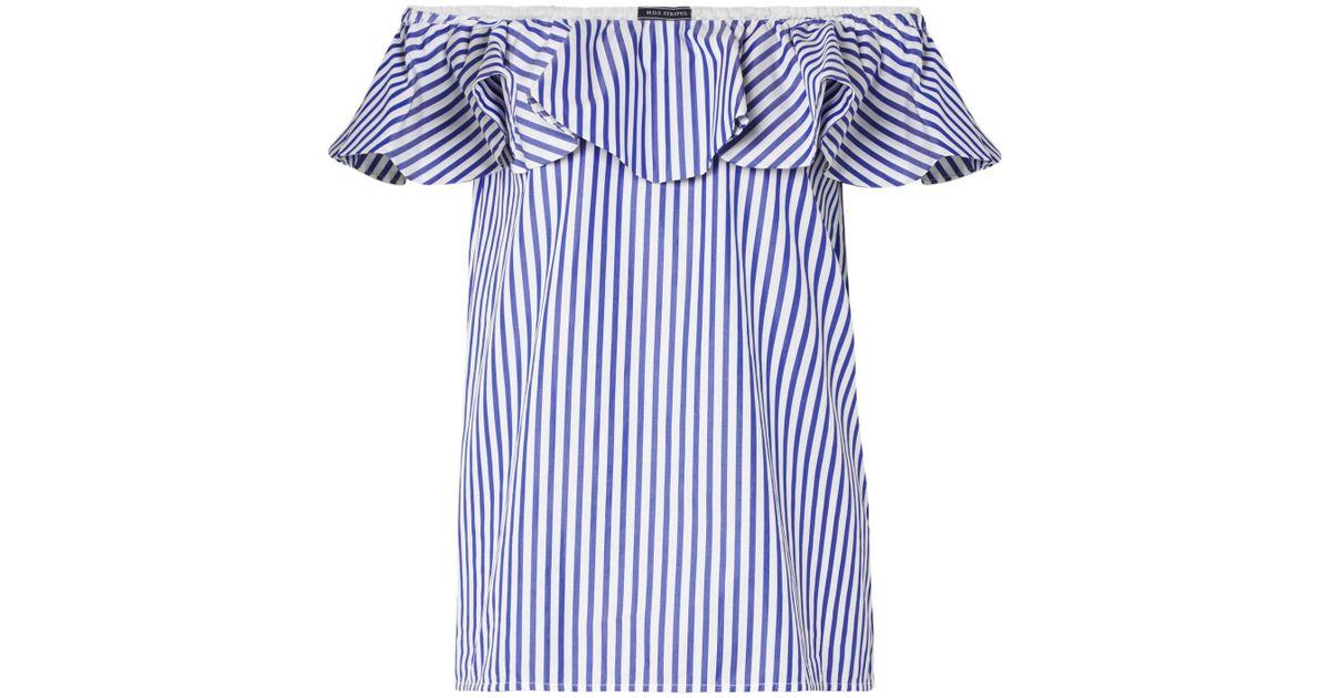 3d1a5ca5334ac Mds Stripes Off-the-shoulder Ruffled Striped Cotton-poplin Top in Blue -  Lyst