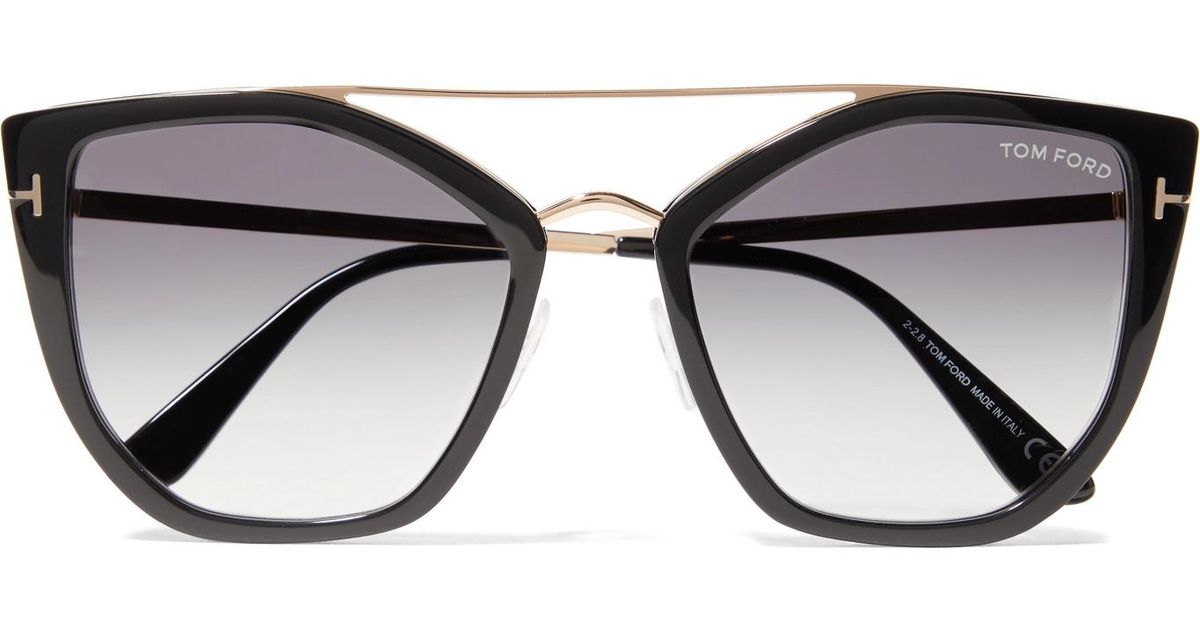 5732d3e82bc1 Lyst - Tom Ford Dahlia Cat-eye Acetate And Gold-tone Sunglasses in Black
