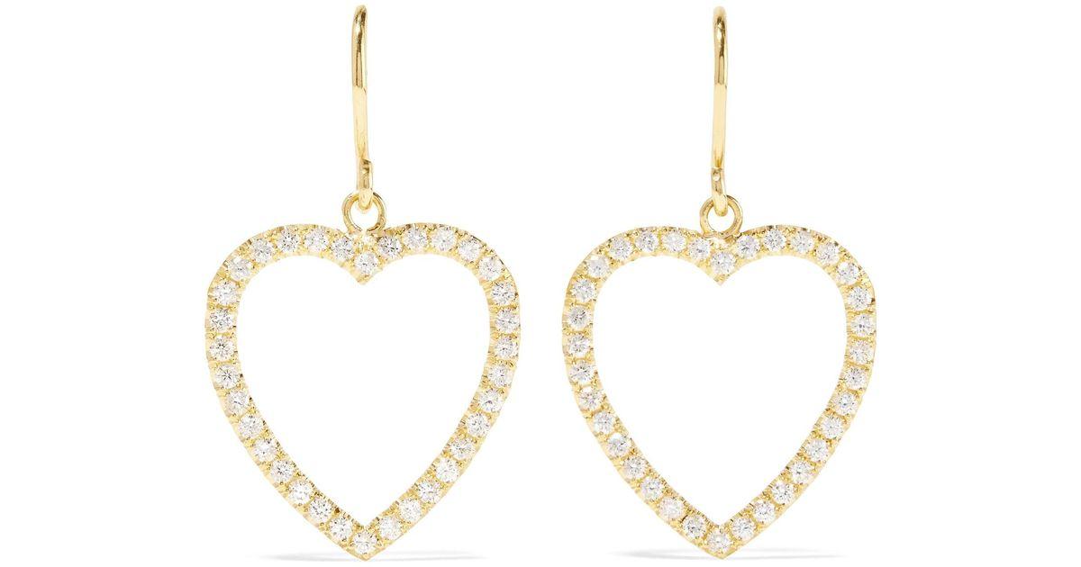 Lyst Jennifer Meyer Open Heart 18 Karat Gold Diamond Earrings In Metallic