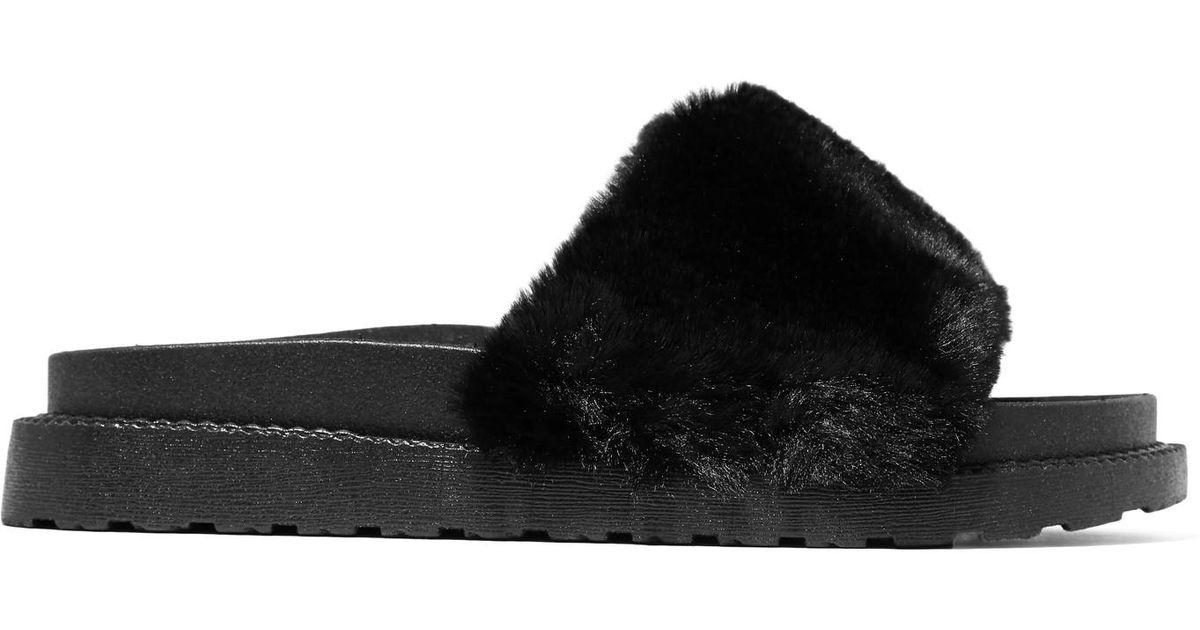 8c79e43dba96 Lyst - Sam Edelman Blaire Faux Fur Slides in Black