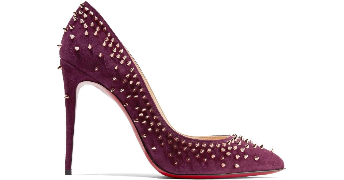 1c54366f17e1 ... ireland christian louboutin escarpic 100 spiked suede pumps in purple  lyst 60d81 b5a29