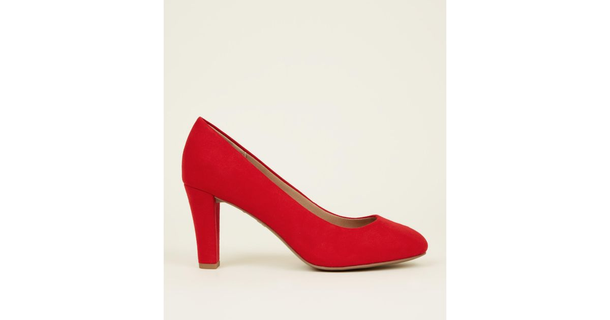 bc6331bdc1d5 New Look Red Comfort Flex Suedette Block Heel Courts in Red - Save 47% -  Lyst