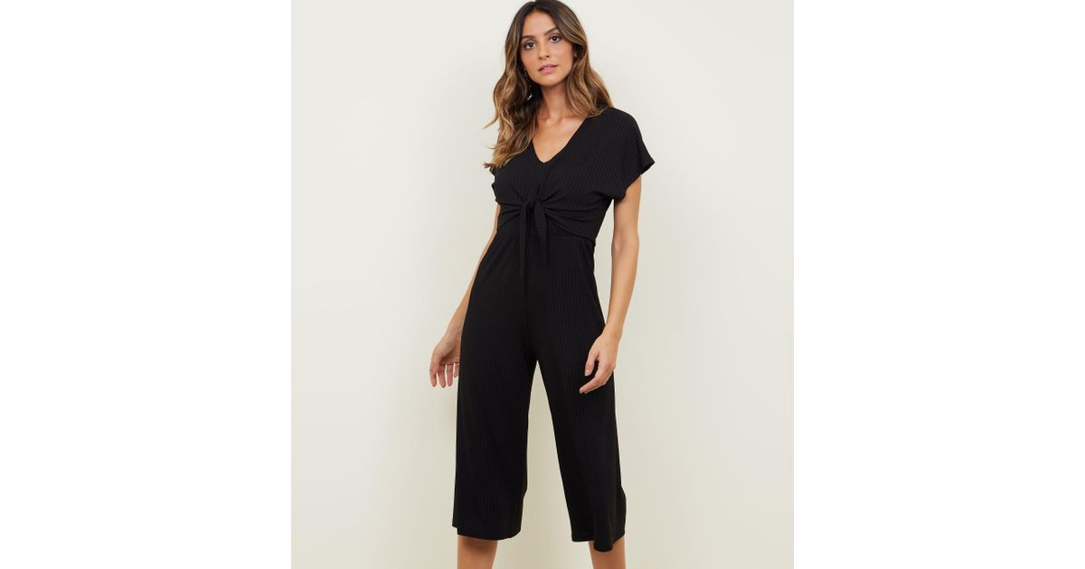 152821a4354 New Look Black Ribbed Tie Front Culotte Jumpsuit in Black - Lyst