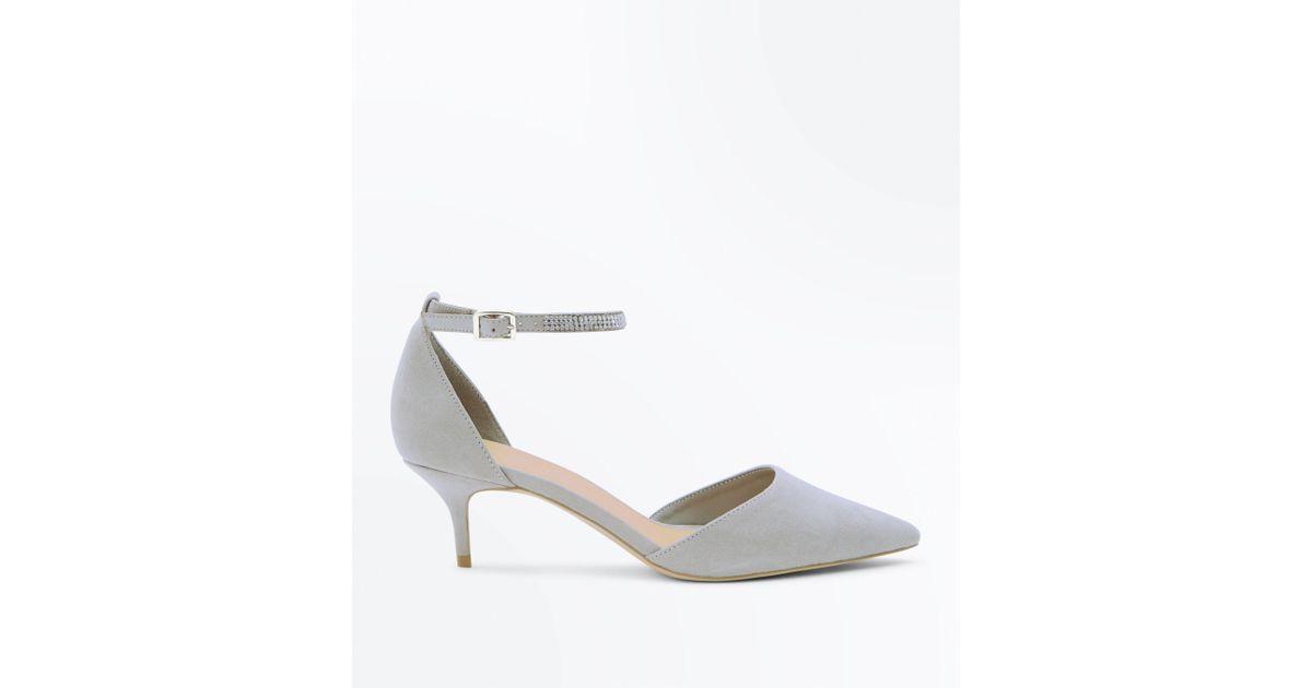 0d360f71b26 New Look Wide Fit Grey Suedette Diamanté Strap Kitten Heels in Gray - Lyst