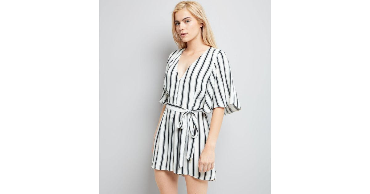 special selection of choose original special discount of New Look White Stripe Tie Waist Playsuit