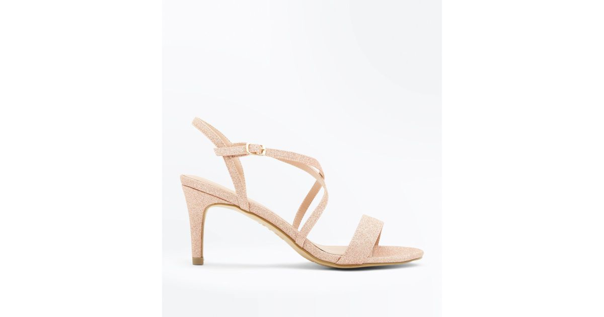 d2906d0a5147 New Look Rose Gold Glitter Strappy Low Heel Sandals in Pink - Lyst