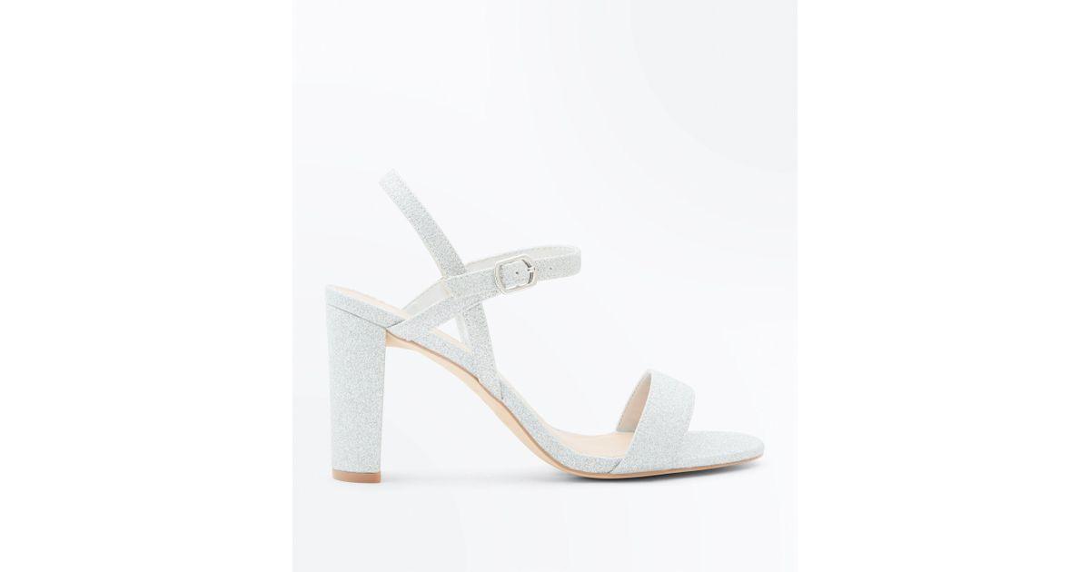 854a8efde72 New Look Wide Fit Silver Glitter Block Heel Sandals in Metallic - Lyst