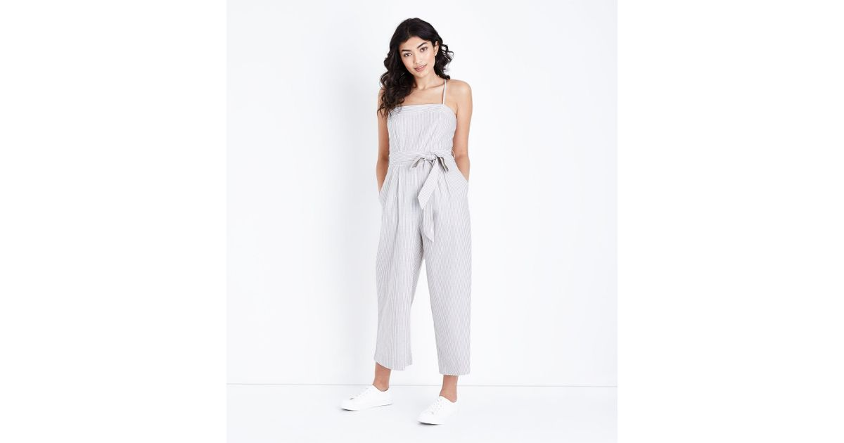 ed431912b894 New Look Off White Stripe Square Neck Jumpsuit in White - Lyst
