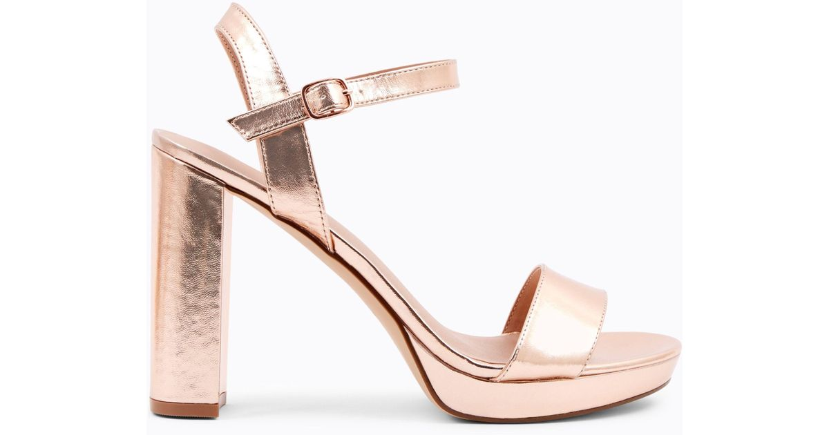 Rose gold metallic strap low heel sandals sale enjoy KhT1MjN7v