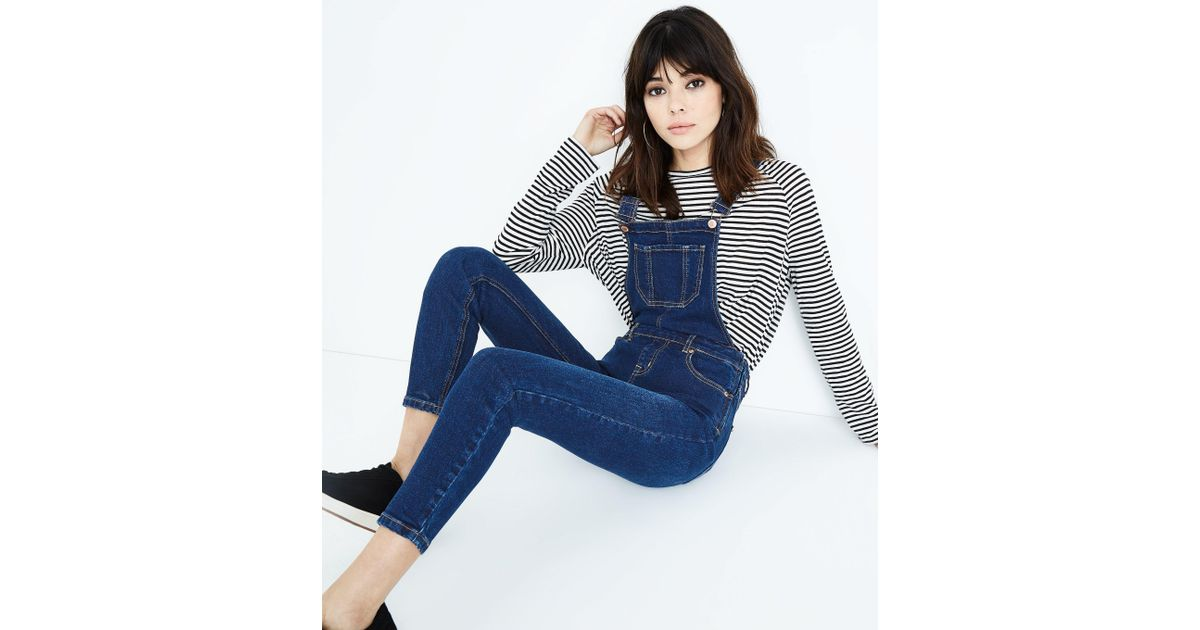 a58aa86420 New Look Blue Rinse Wash Slim Leg Denim Dungarees in Blue - Lyst