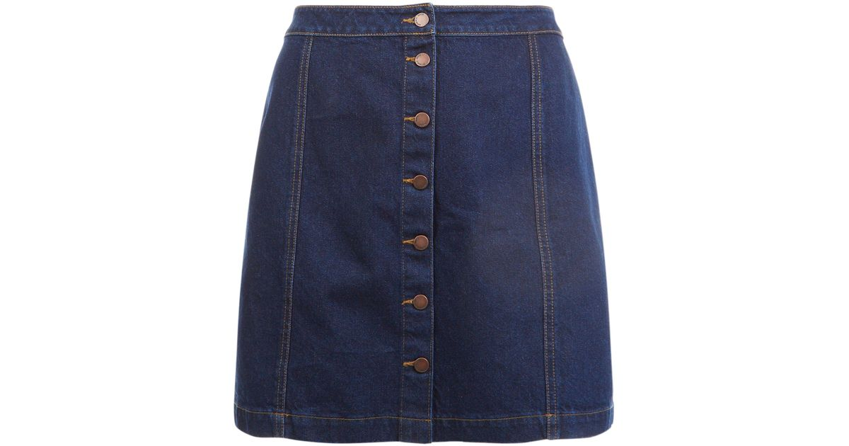cab4946995fa7 New Look Curves Blue Button Front Denim Skirt in Blue - Lyst