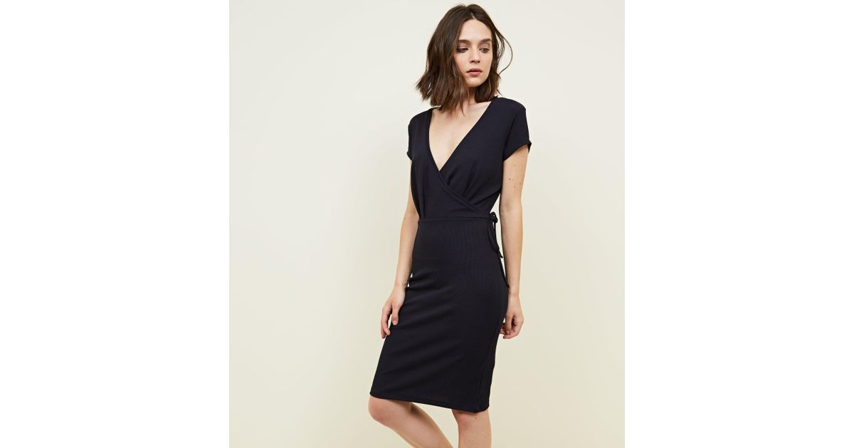 New Look Ribbed Wrap Front Bodycn Dress Extremely IHVTkefNU