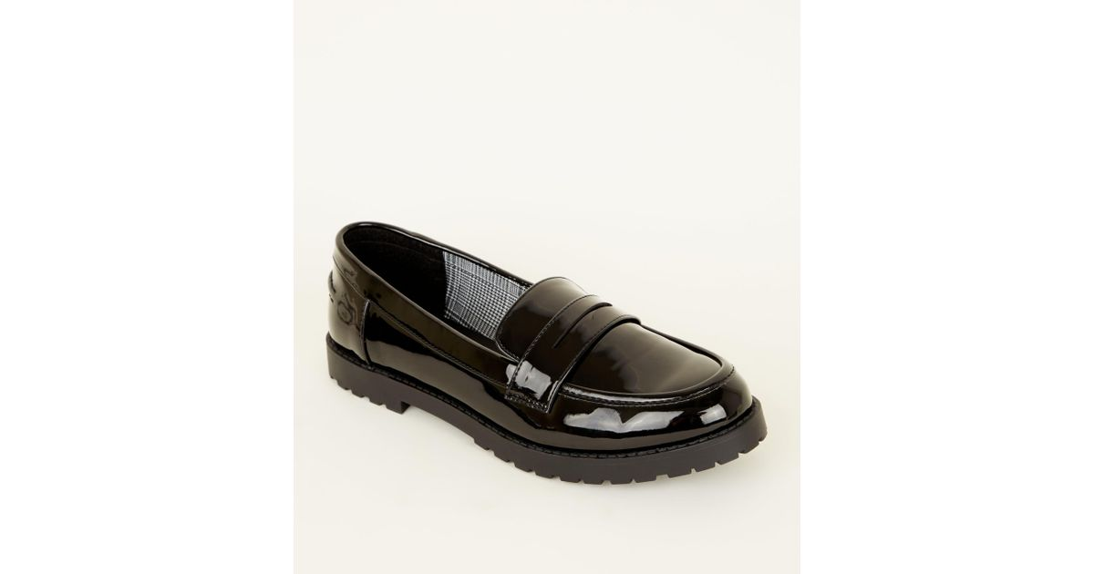 320cd8e22020 New Look Girls Black Patent Chunky Sole Loafers in Black - Lyst