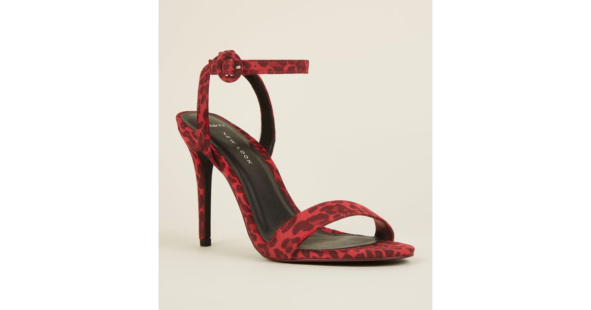 a4bf48e3d2e New Look Wide Fit Red Suedette Leopard Print Stiletto Sandals in Red - Lyst