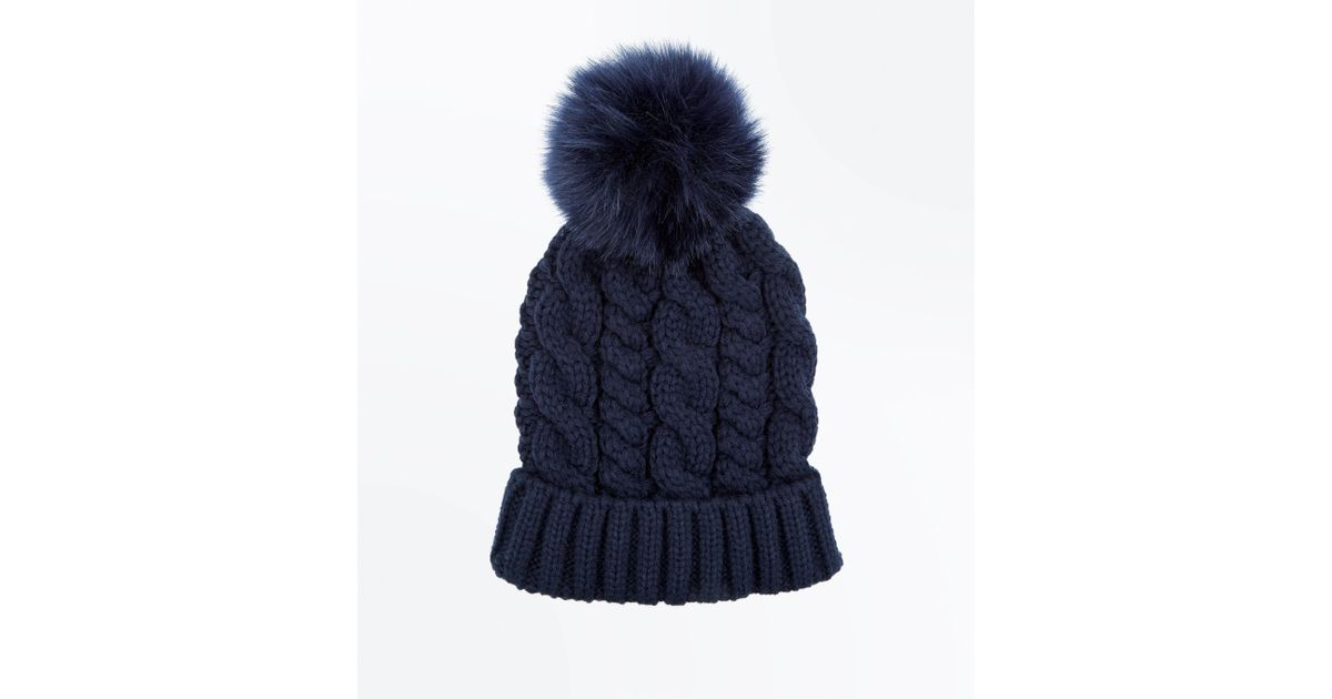 4b42083123703 New Look Navy Cable Knit Faux Fur Pom Pom Bobble Beanie in Blue - Lyst