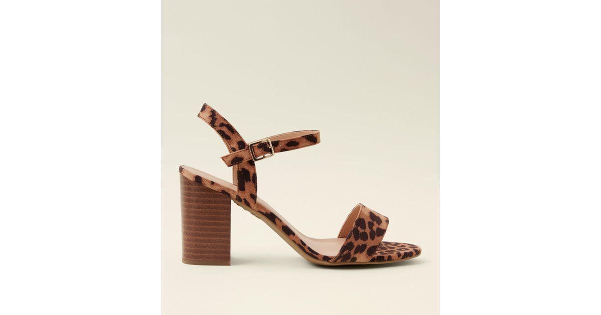 80d78f1693f New Look Wide Fit Stone Leopard Print Wooden Block Heels in Brown - Lyst