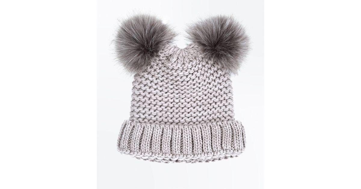 282f4fb1 New Look Mink Double Faux Fur Pom Pom Hat - Lyst