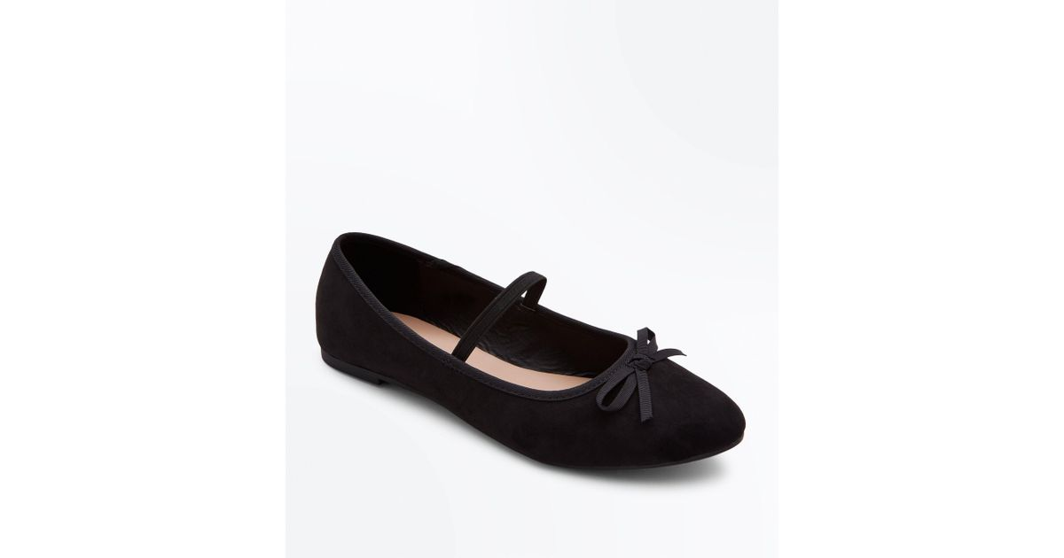 5f93758aef7 New Look Girls Black Suedette Bow Front Strap Ballet Pumps in Black - Lyst