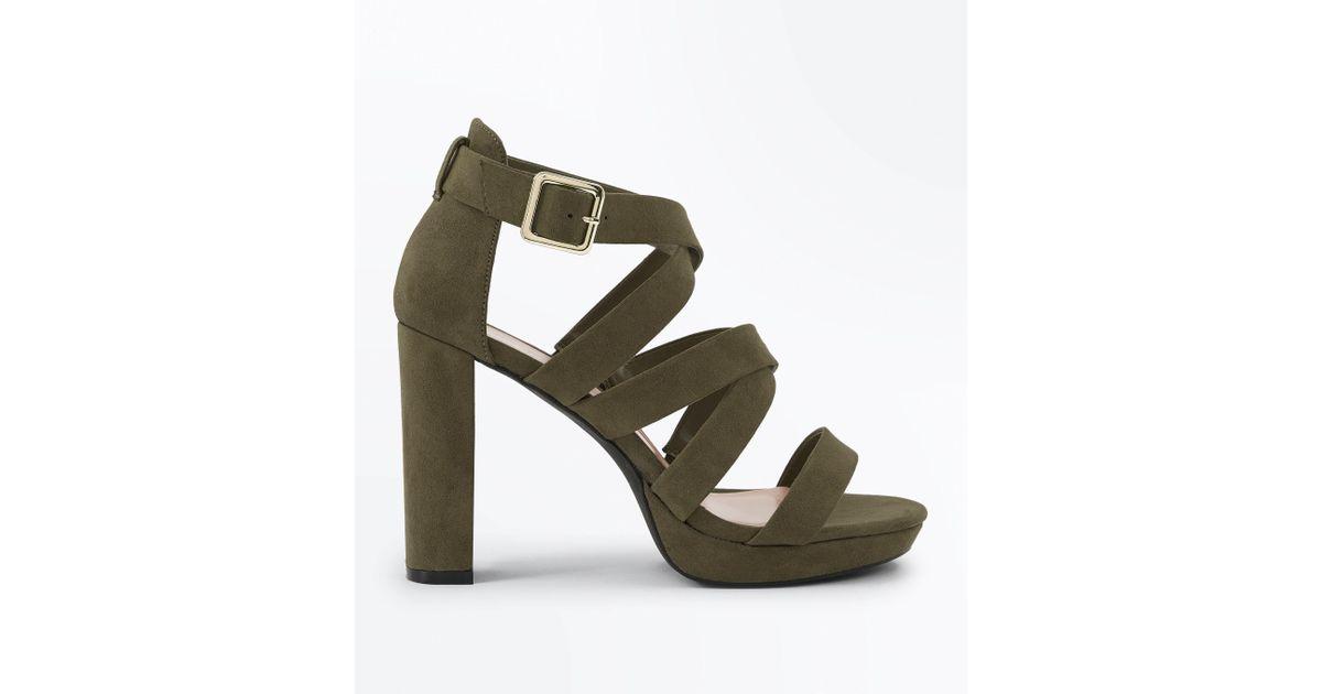 3d34e84694fe New Look Wide Fit Khaki Suedette Strappy Platform Sandals - Lyst
