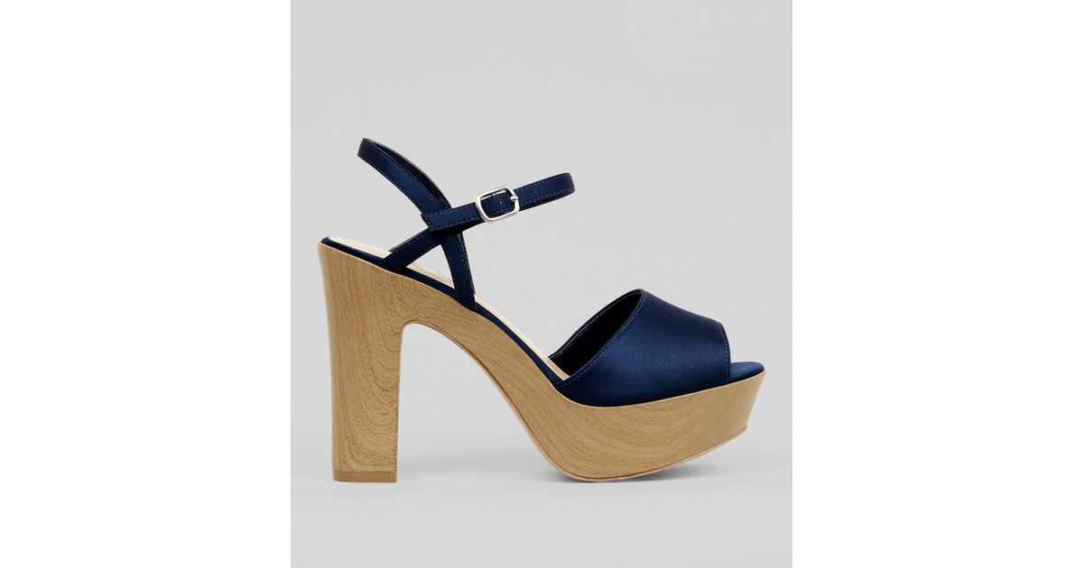 a5ed6c8a286 New Look Wide Fit Navy Wooden Effect Platform Block Heels in Blue - Lyst