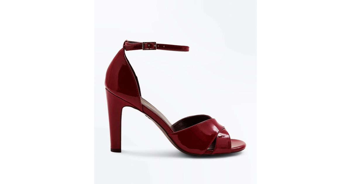 25b598bd001 New Look Burgundy Patent Cross Strap Heeled Sandals in Red - Lyst
