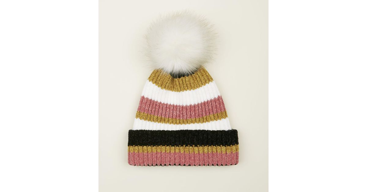 New Look Pink Stripe Chenille Fluffy Bobble Beanie Hat in Pink - Lyst d4e88eb47d7