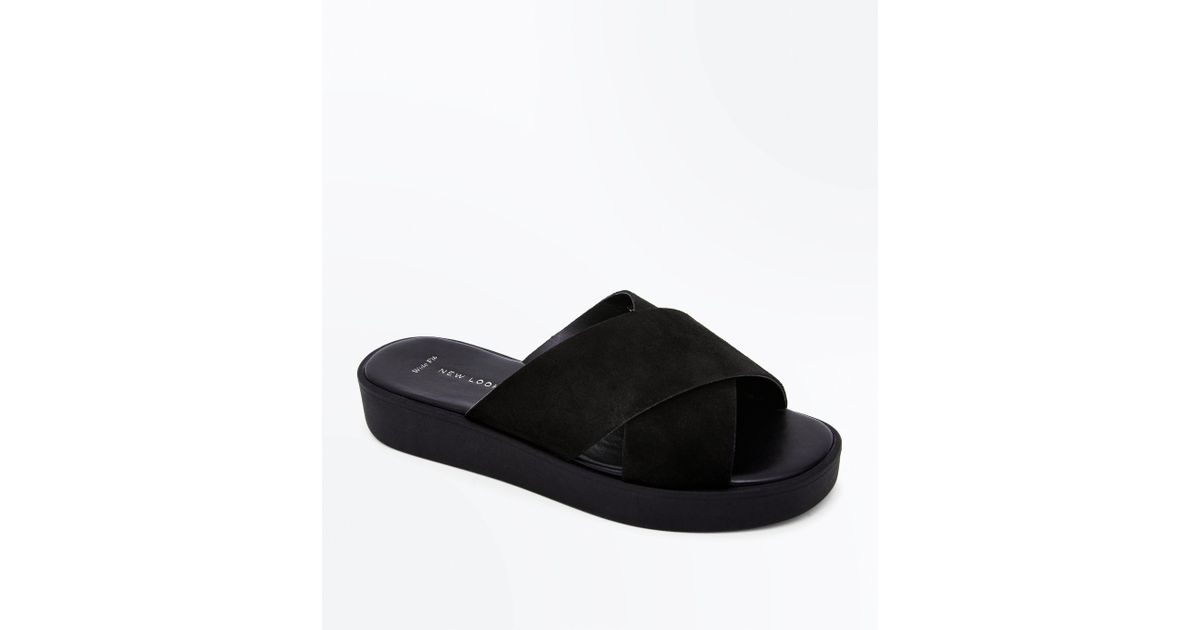 3c15cd16733825 ... New Look Wide Fit Black Suede Flatform Sliders in Black - Lyst best  deals on be8bd ...