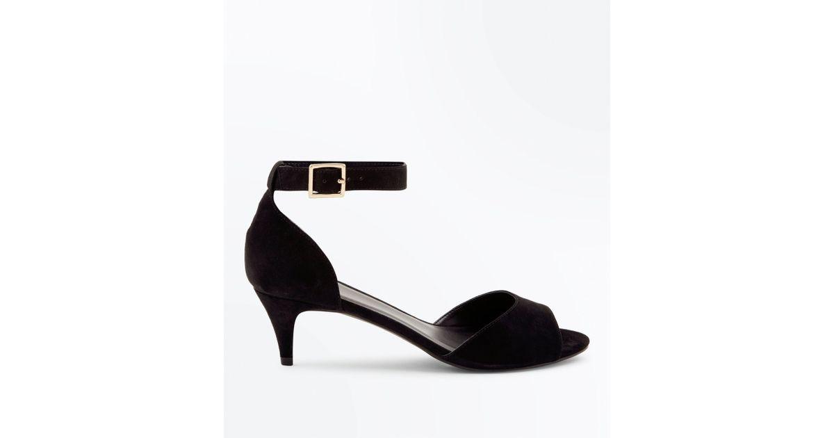 59a48ef55864 New Look Wide Fit Black Suedette Ankle Strap Kitten Heels in Black - Lyst
