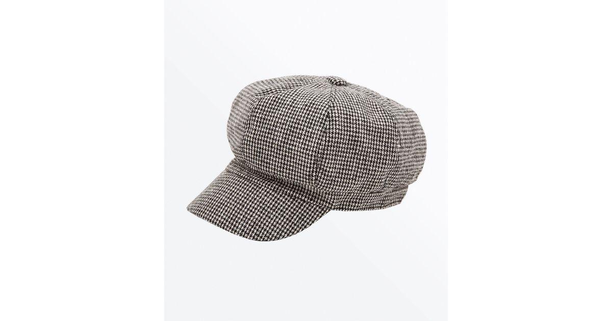 6dada8c847b34 New Look Grey Houndstooth Check Baker Boy Hat in Gray - Lyst