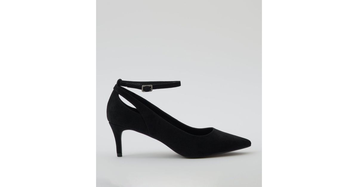 aa4fa7bfd5d New Look Black Suedette Kitten Heel Pointed Court Shoes in Black - Lyst