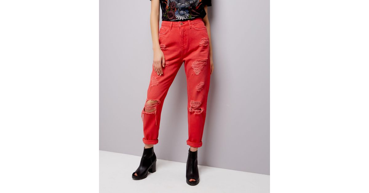 600415791f New Look Red Ripped Tori Mom Jeans in Red - Lyst