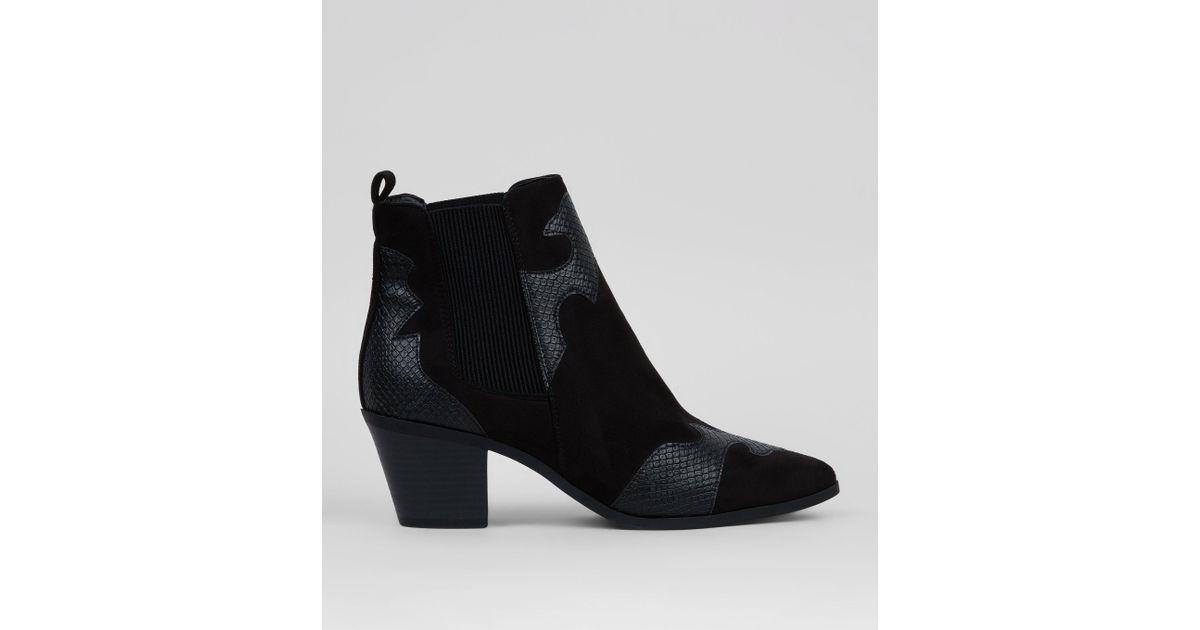 New look black suedette snakeskin appliqué western boots in black