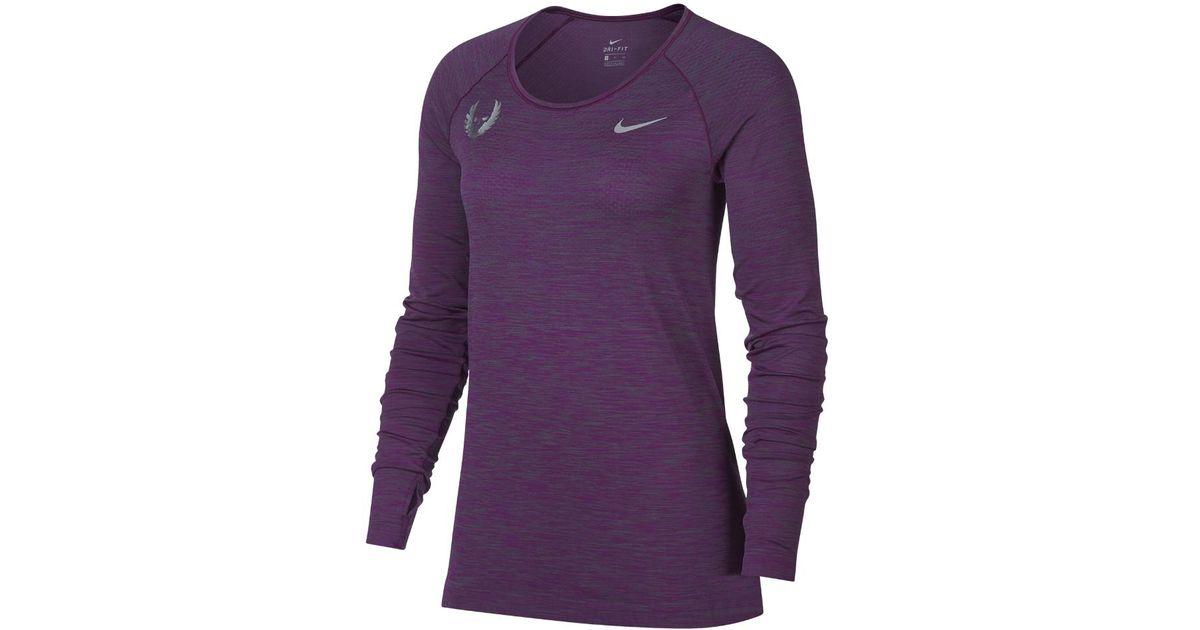 752ea701 Nike Dri-fit Knit Women's Long Sleeve Running Top in Purple - Lyst