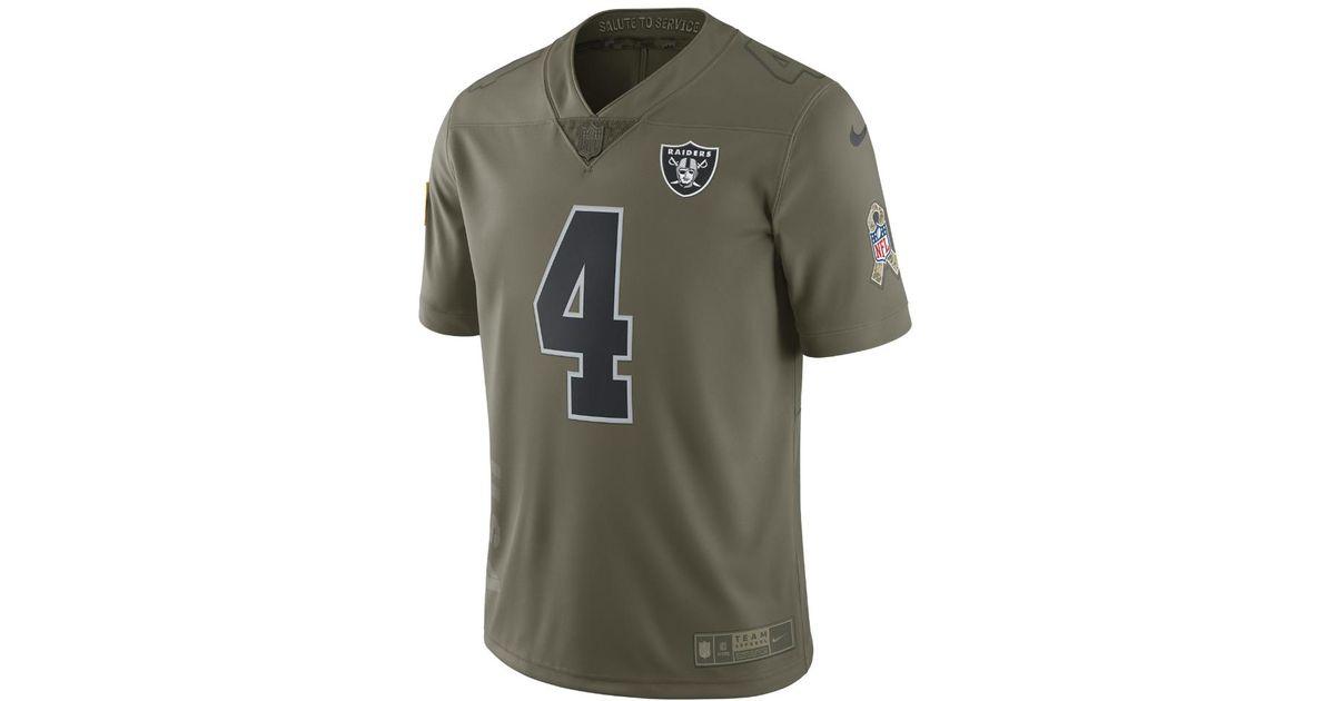 premium selection 8b993 780e7 Nike - Green Nfl Raiders Limited Sts (derek Carr) Men's Football Jersey for  Men - Lyst