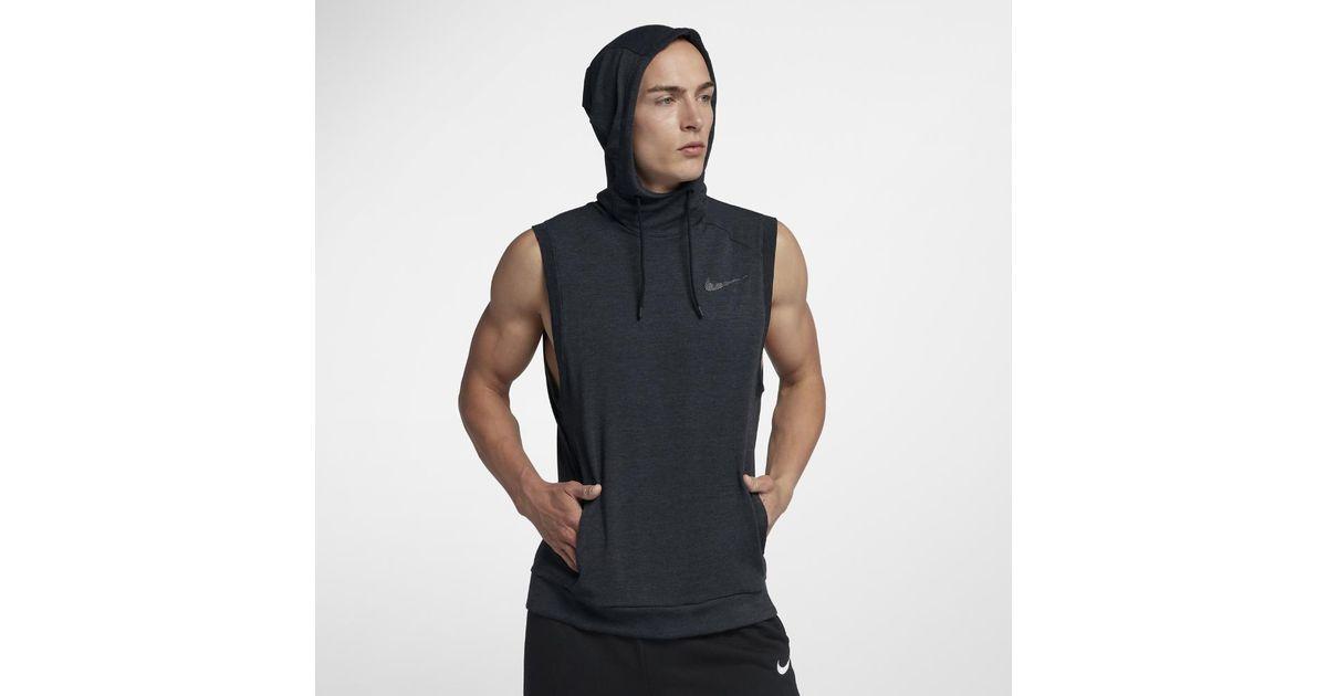 023367692fb Nike Dri-fit Hooded Men s Sleeveless Training Top in Black for Men - Lyst