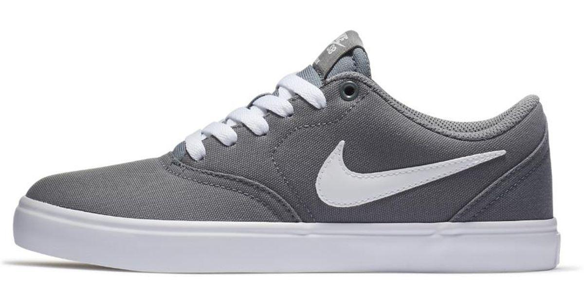 pretty nice 449e4 85fae Nike Sb Check Solarsoft Canvas Skateboarding Shoe in Gray - Lyst