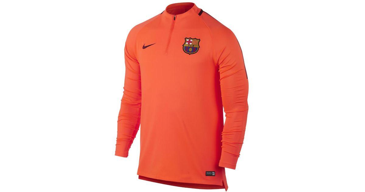 Lyst - Nike Fc Barcelona Dry Squad Drill Men's Soccer Top in Orange for Men  - Save 16%