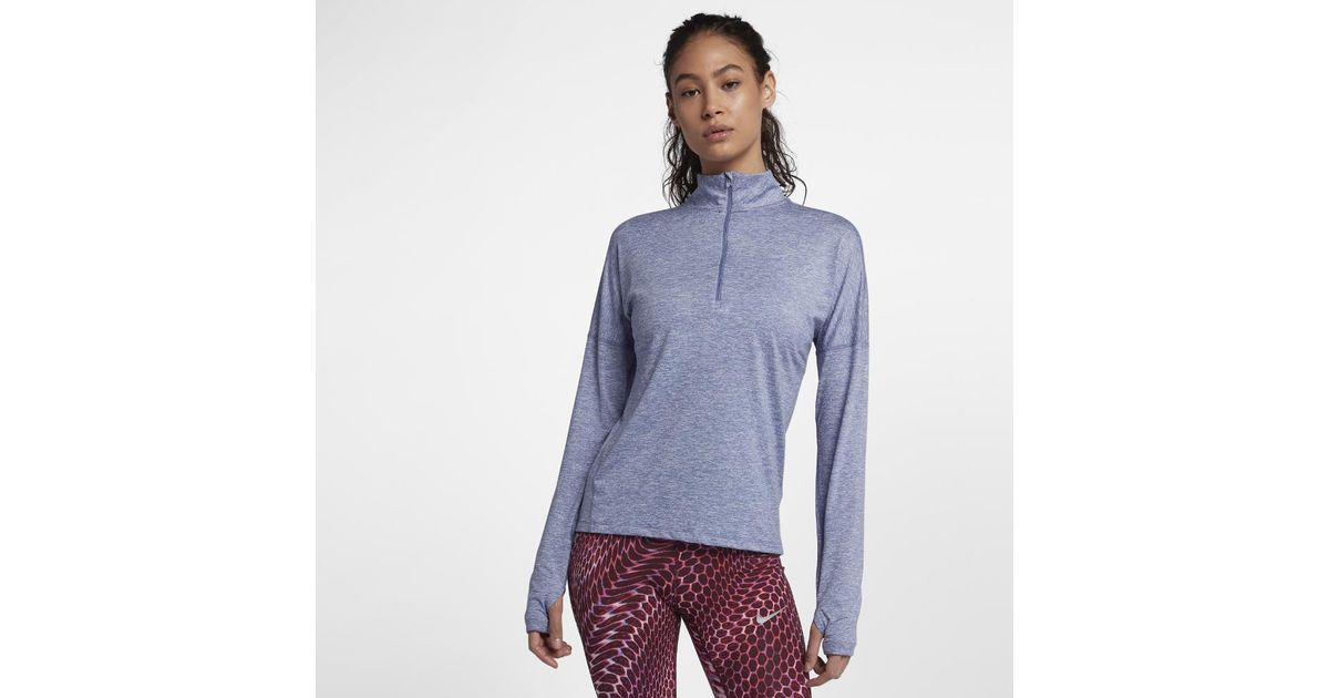 72b40af57fa Nike Dri-fit Element Women's Long Sleeve Running Half-zip Top in Purple -  Lyst