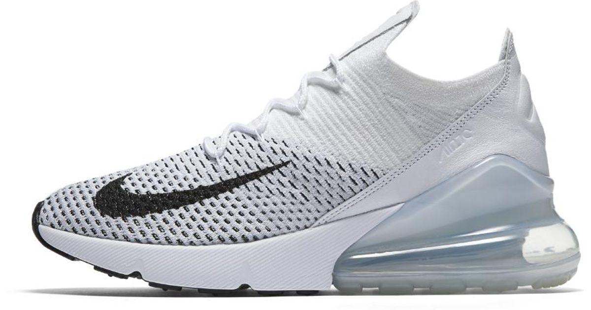01995f129ddff4 Lyst - Nike Air Max 270 Flyknit Women s Shoe in White