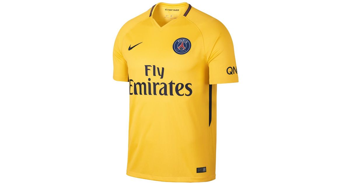ae349455e3 Lyst - Nike 2017 18 Paris Saint-germain Stadium Away Men s Soccer Jersey in  Yellow for Men
