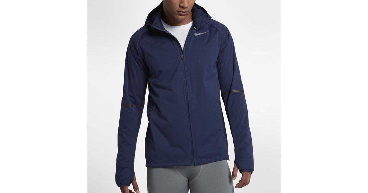3da2926650dbf3 Lyst - Nike Shield Max Men s Running Jacket in Blue for Men