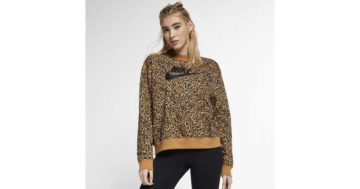 d7b4cc56 Nike Sportswear Animal Print Crew in Brown - Lyst