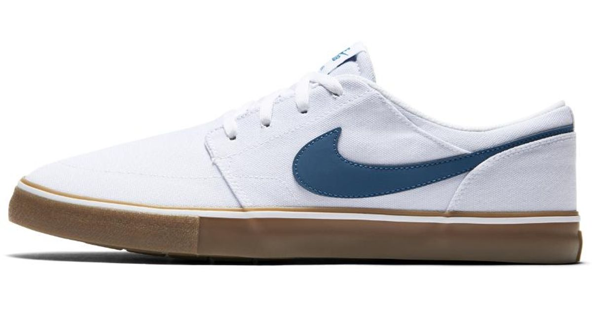 nike sb solarsoft portmore ii canvas men 39 s skateboarding shoe in blue for men lyst. Black Bedroom Furniture Sets. Home Design Ideas