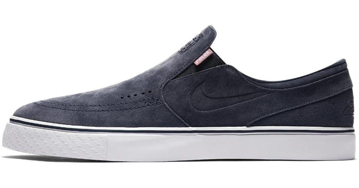 7cde9a9cf8ae Lyst - Nike Sb X Poler Zoom Stefan Janoski Slip-on Suede Men s  Skateboarding Shoe in Blue for Men