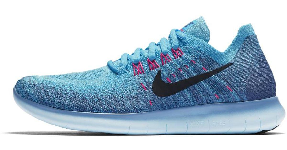 65dbbfed24a0 Lyst - Nike Free Rn Flyknit 2017 Women s Running Shoe in Blue