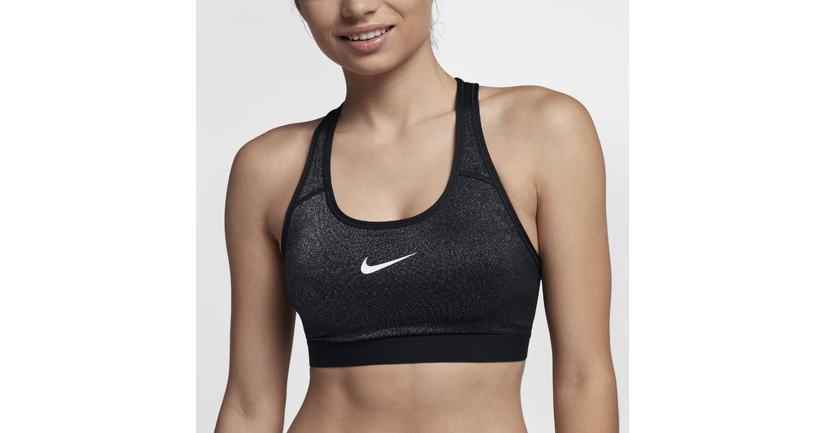 06626dc125a27 Lyst - Nike Classic Sparkle Women s Medium Support Sports Bra in Black