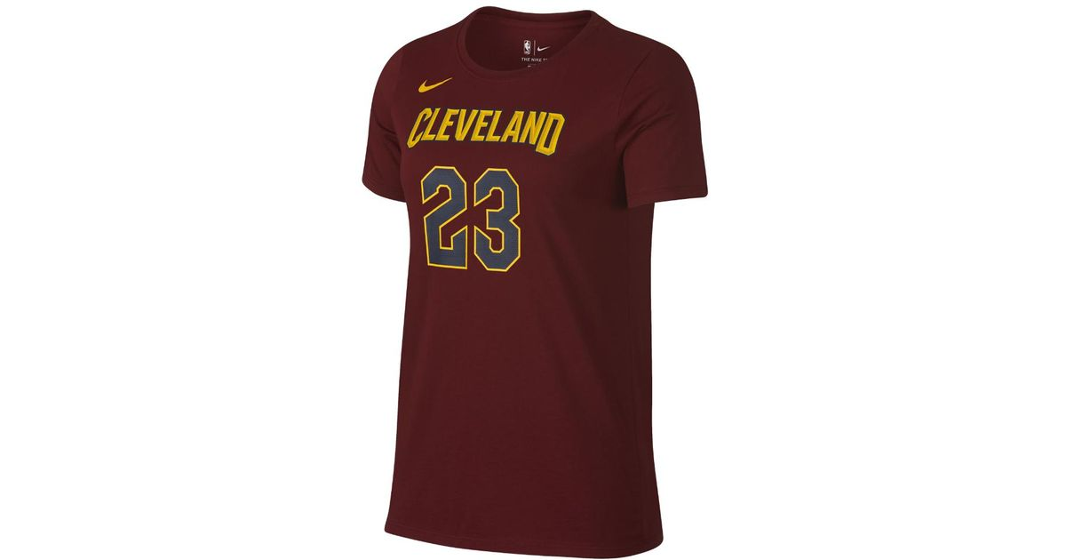 e1c69b3ac7c Lyst - Nike Lebron James Cleveland Cavaliers Dri-fit Women s Nba T-shirt in  Red