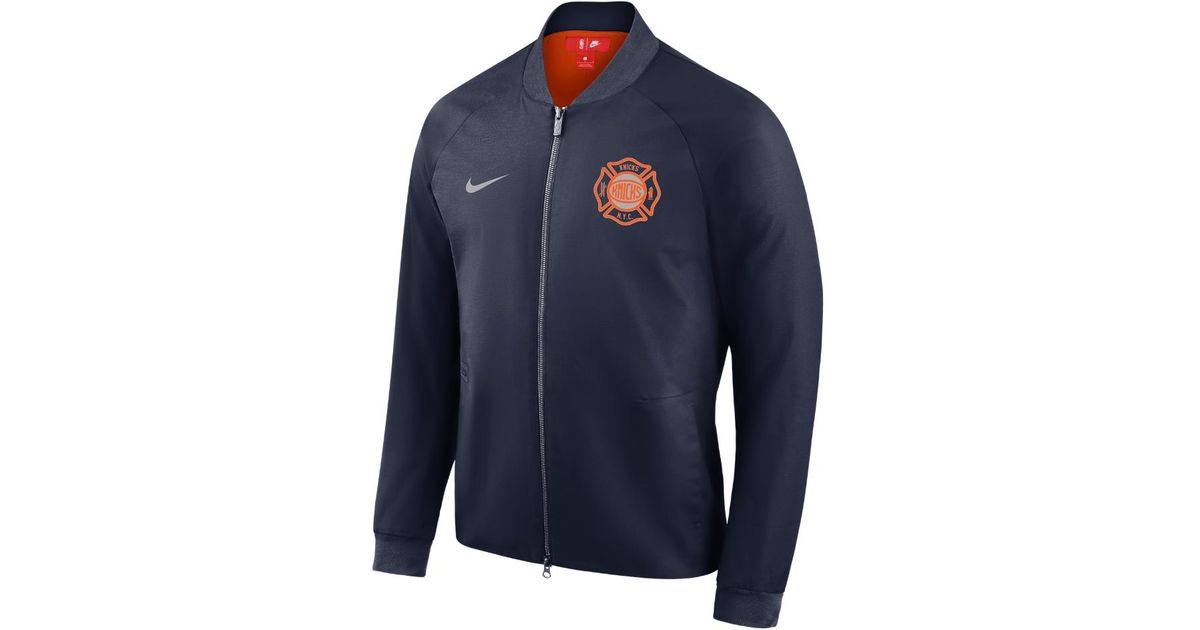 5670db9e2 Lyst - Nike New York Knicks City Edition Modern Men s Nba Varsity Jacket in  Blue for Men