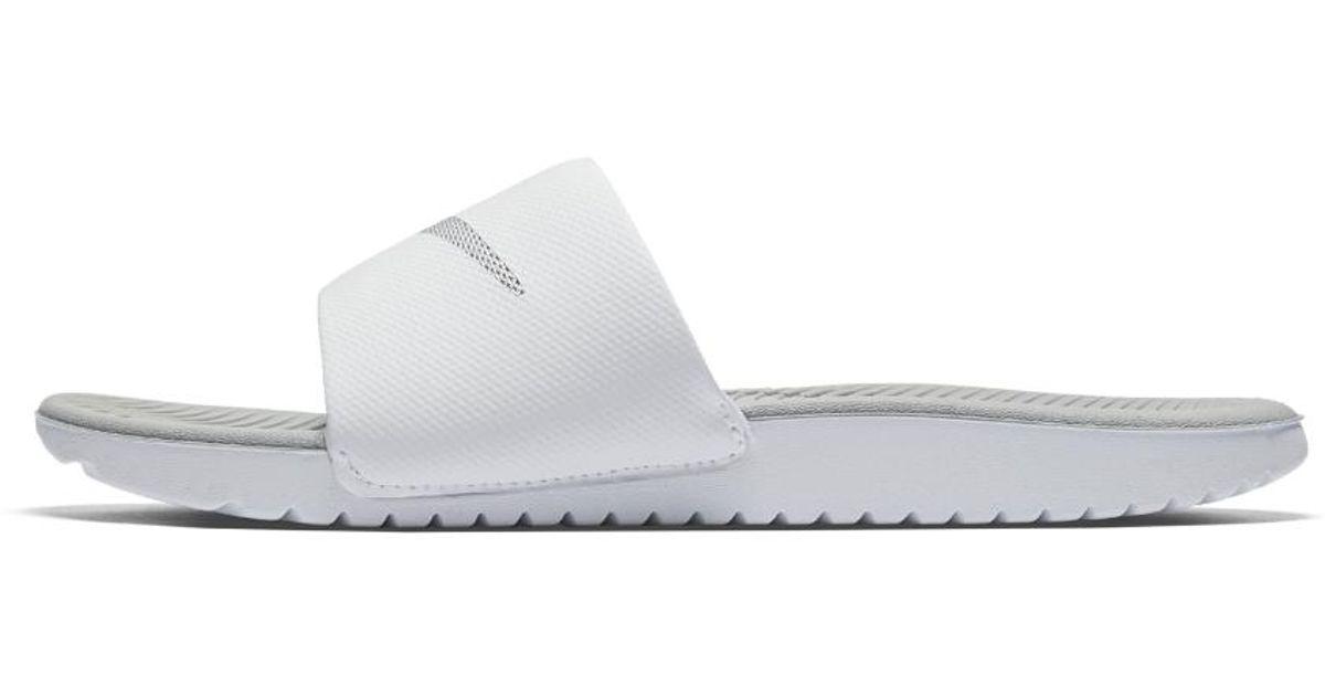 Lyst - Nike Kawa Women s Slide Sandal in White bf5c8260d